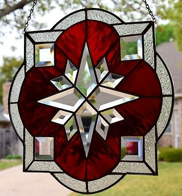 """Stained Glass Window Panel """"Mission Star Bevel in Red"""""""