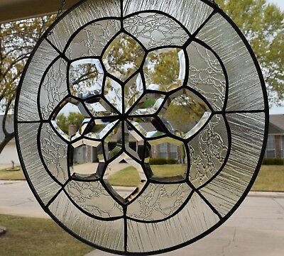 Clear Contemporary Beveled Stained Glass Window Panel