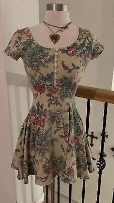 Very Rare Vintage Betsey Johnson Floral Dress Pearl Buttons XS