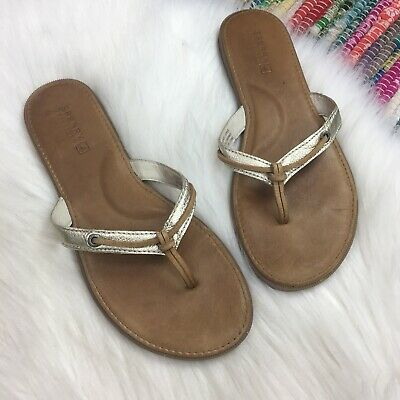 e8d8d2bfb19 Sperry Top-Sider Womens Calla Thong Sandals Sz US 8 M Cognac Brown Leather  Gold