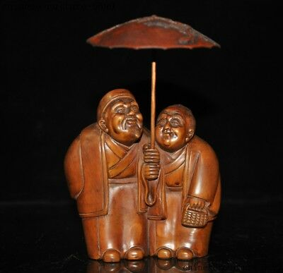 """6""""    Rare China Boxwood wood pure Hand carved Old man Wife Pair Umbrella statue"""
