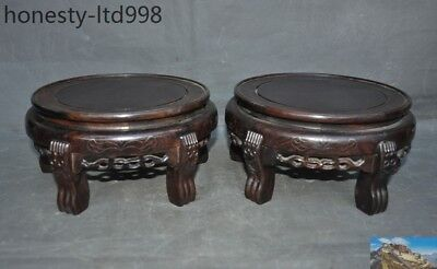 Old Chinese Huanghuali Wood carved ancient Wooden Bench Stool Chair Statue pair
