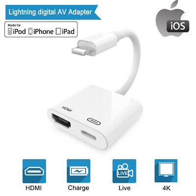 For iPhone XS MAX XR Lightning to HDMI Female AV Video 4K Adapter Sync&Charge