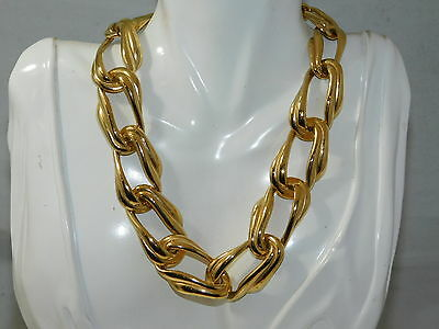 "Chunky Vintage Graduated Wide Gold tone 15"" Chain Necklace 8a 17"