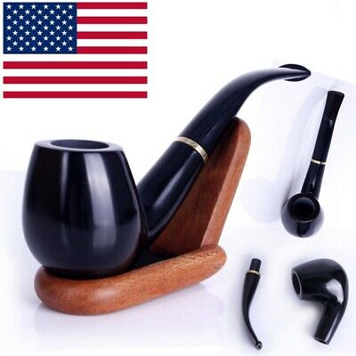 Black Durable Wooden Wood Smoking Pipe Tobacco Cigarettes Cigar Pipes Gift