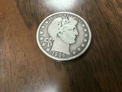 1906  Silver Barber Half Dollar FULL DATE A  VERY NICE COIN, SEE DESCRIPTION!