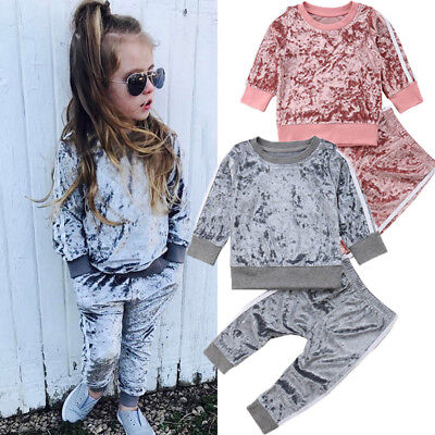 UK 2PCS Kids Baby Girls Clothes Outfits T-shirt Tops +Pants Tracksuit Set 1-6Y