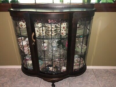 Antique Leadlight China Cabinet Bow Front