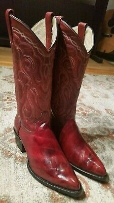 94f1dbf6d18 DURANGO EXOTIC RED Eel Skin & Leather J Toe Cowboy Boots #Sw1575 Men's Size  8Ee