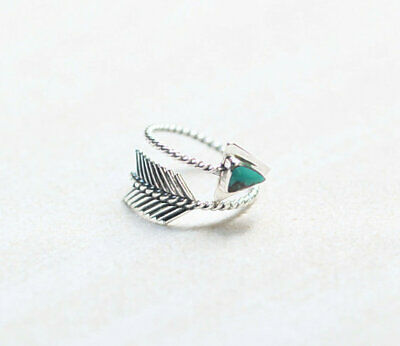 Vintage Women Men's Feather Bow Arrow Ring 925 Silver Turquoise Adjustable Rings