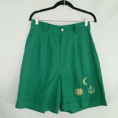 Vintage High-Waisted Shorts L (fits 14-16) Green 80s Embroidery Pinup Rockabilly