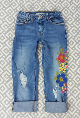 65bcff1d Girls Zara Floral Embellished Cropped Distressed Blue Jeans Capris Denim  Size 9
