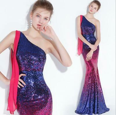 Womens Sexy Elegant One Shoulder Sequins Fishtail Gown Cocktail Evening Dresses