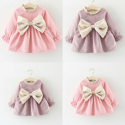 AU Canis Toddler Baby Girls Winter Long Sleeve Princess Dress Wedding Party Gown