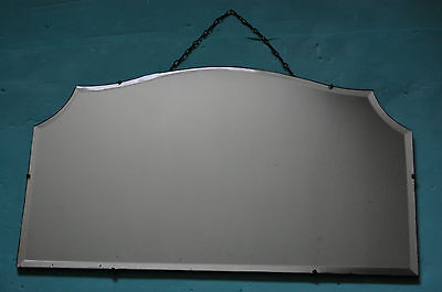 Vintage Art Deco Frameless- Arched Rectangular Bevelled Edge Wall  Mirror-Used