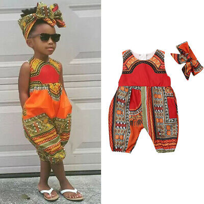 AU Infant Baby Girls Kids African Jumpsuit Clothes Toddler Playsuit Outfit Sets