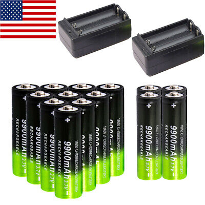 10* 9900mAh Powerful 18650 Rechargeable Battery 3.7v Li-ion Batteries Charger