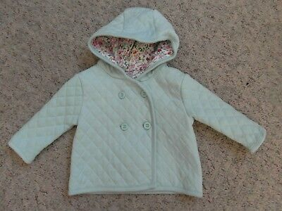 BABY GIRLS AQUA QUILTED COTTON JACKET with HOOD  Age up to 3 Months - MOTHERCARE