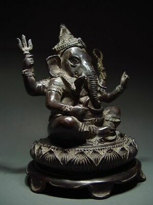 ANTIQUE BRONZE KHMER MULTI-ARMED HINDU DEITY GANESHA. CAMBODIA. 19/20th C.