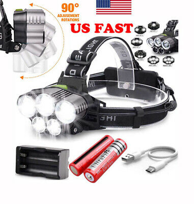 150000LM 5X T6 LED Headlamp Head Light Flashlight Head Torch 2x Battery