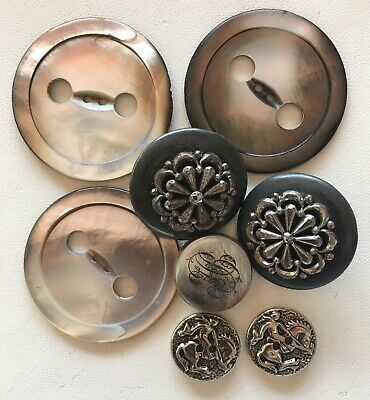 Vintage Antique Button Lot Of 8 Mother of Pearl Plus Other Materials