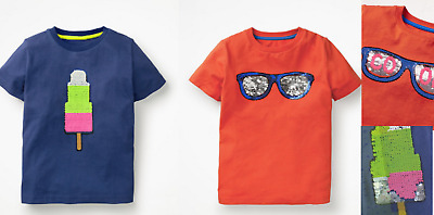 Mini Boden boys top tshirt color changing sequins RRP $34 ice lolly sunglasses