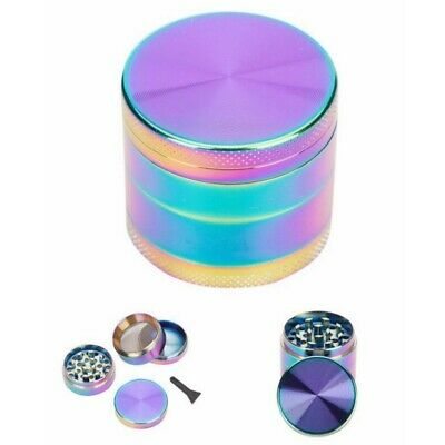 4-Layers 40mm Rainbow Steel Spice Herb Crusher Grinder Cylinder Tobacco Muller