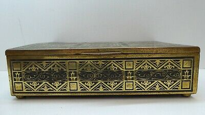 Vintage Pressed Metal Brass Wooden Timber Cedar Lined Cigar Box