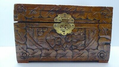 Old Chinese Asian Carved Timber Jewellery Box , Cigar Box , Tea Chest Casket