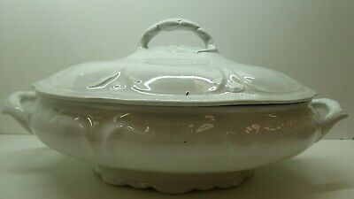 Victorian Antique Johnson Brothers Royal Ironstone Ceramic Vegetable Tureen Pot