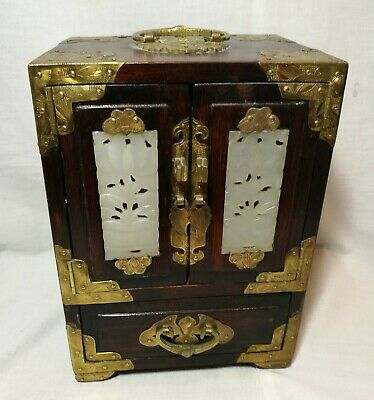 Vintage Chinese wooden wedding jewellery box inlaid white jade+brass with Lock