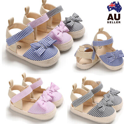 Newborn Baby Kid Girl Canvas Princess Sandals Soft Crib Shoes Toddler Prewalker