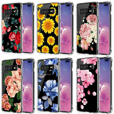 Samsung Galaxy Note 10 S10 Plus Girls Floral Flowers Clear TPU Phone Case Cover