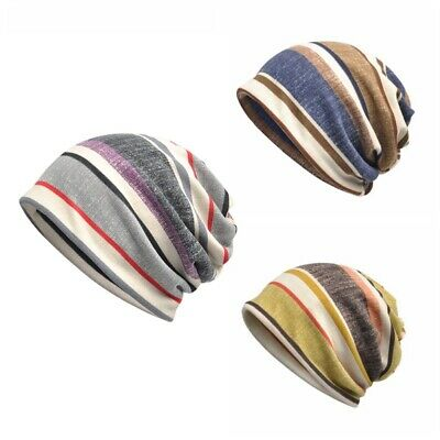 Unisex Cotton Knit Floral Striped Oversized Cycling Slouch Hat Cap Baggy Beanies
