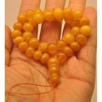Islamic 33 prayer beads antique baroque amber rosary