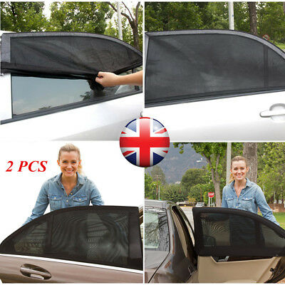 2x Universal Car Sun Shade Shield Socks Rear Window Sun Protcet Cover UV Mesh