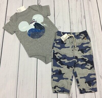 Baby Gap Boys 6-12 Months Outfit. Mickey Mouse Shirt & Camouflage Pants. Nwt