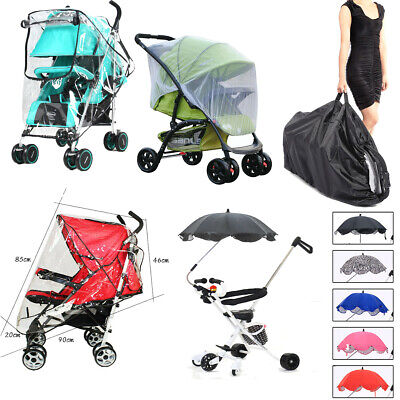 Pushchair Pram Buggy Stroller Rain Cover Travel Bag Umbrella Mosquito Insect Net