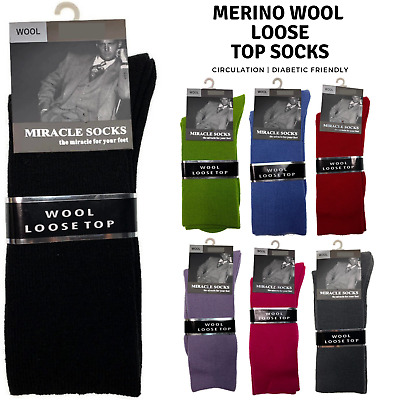 1x Pair MERINO WOOL Rich LOOSE TOP SOCKS Dress Medical Circulation