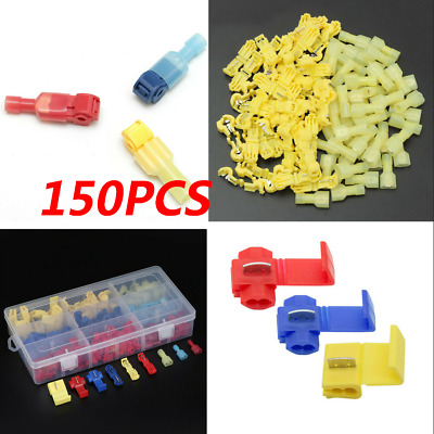 150X Insulated 0.5-6mm Quick Splice Wire Connector Crimp Terminals 22-10 AWG Kit
