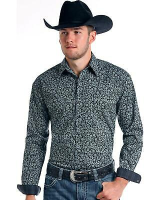 Rough Stock by Panhandle Men/'s Vintage Print Long Sleeve Snap Shirt Charcoal