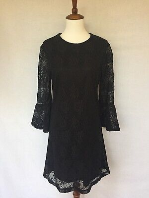 Wayf Size M New Wtags Black Lace Shift Dress With Bell