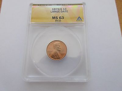 1970-S Lincoln Cent , ANACS , MS 63 , Large Date . RED