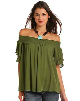 851ac39b68db8 Red Label by Panhandle Women s Olive Off The Shoulder Ruffle Top - J9-6253