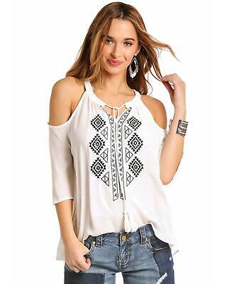 97f2edb97f180 Red label by Panhandle Women s White Embroidered Cold Shoulder Top - J9-6240
