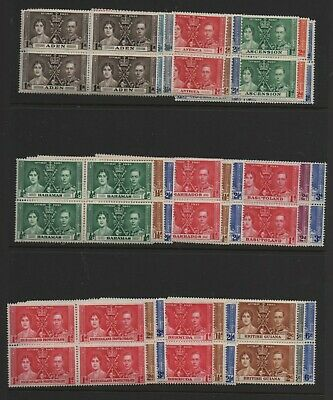 1937 Coronation complete omnibus set 202 MNH & mounted mint blocks 4 stamps