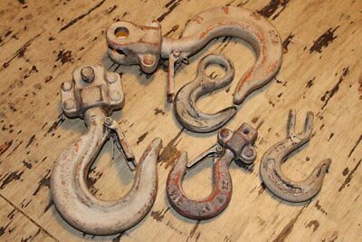 Vintage Forged Chain Hoist Lifting Hooks Distressed Hooks Heavy Duty Tool Decor