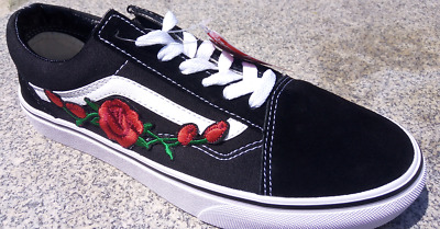 f04a662036b8 Custom Vans Old Skool Red Rose Embroidered Skate Shoes (real stitch  embroidery)