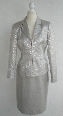 Albert Nipon Jacquard Silver Jacket Skirt Suit Set Size 4 Nwt