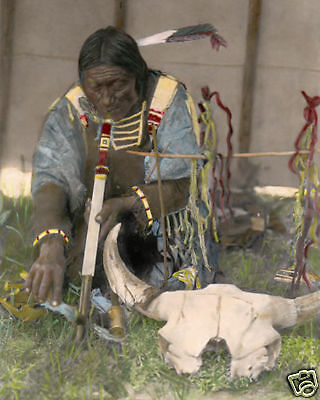 """SALIVA 1907 NATIVE AMERICAN SIOUX INDIAN 8x10"""" HAND COLOR TINTED PHOTOGRAPH"""